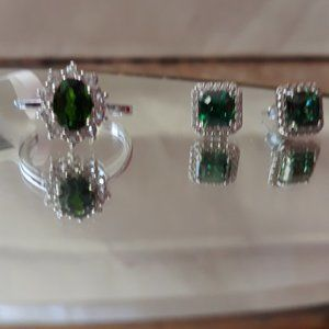 Chrome Diopside Ring Sz 7.5 + Crystal Earrings